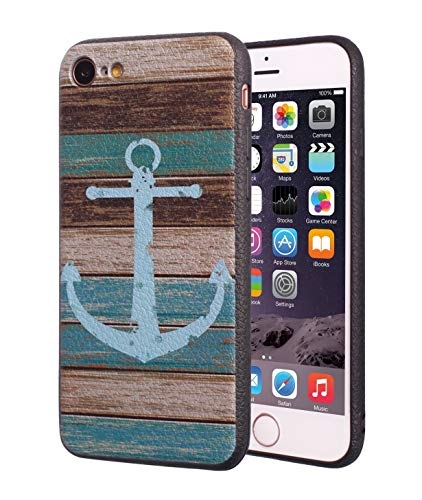 iPhone 7 Case,iPhone 8 Case,BWOOLL Slim Anti-Scratch Shockproof Leather Grain TPU Rubber Protective Cover for Apple iPhone 7/iPhone 8 (4.7 inch) - Vintage Nautical Anchor Rustic Wood (Iphone Anchor Case)