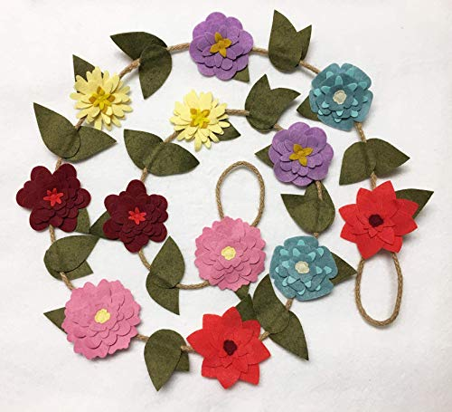 (Summer Flower Garland, Felt Flower Decoration)