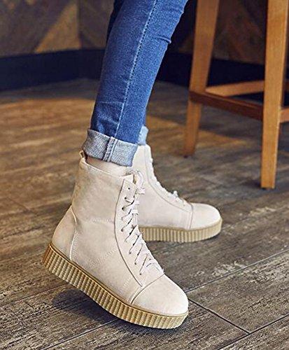 Chfso Donna Alla Moda Solido Completamente Foderato In Pizzo Stringato Con Zeppa Bassa Piattaforma Sneakers Invernali Stivali Da Neve Beige