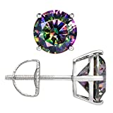 Everyday Elegance   14K Solid White Gold Round Cut Rainbow Mystic CZ Stud Earrings   4.0 cttw   Screw Back Posts   Gift Box