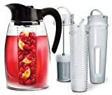 Primula Flavor-It Beverage System - Includes Large Capacity Fruit Infuser Core, Tea Infuser Core, and Chill Core - Dishwasher Safe - 2.9 Qt. - Black
