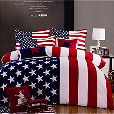 Auvoau 100% Cotton Reactive Printed American Flag Manufacturing Bedding Set 4pc, Quilt Cover and Pillowcase Sheets