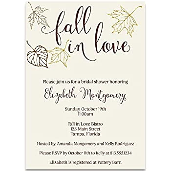 autumn bridal shower invitations fall fall in love leaves wedding falling maple rustic brown gold ivory personalized custom 10 printed invites