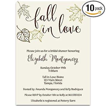 Amazon autumn bridal shower invitations fall fall in love autumn bridal shower invitations fall fall in love leaves wedding falling filmwisefo
