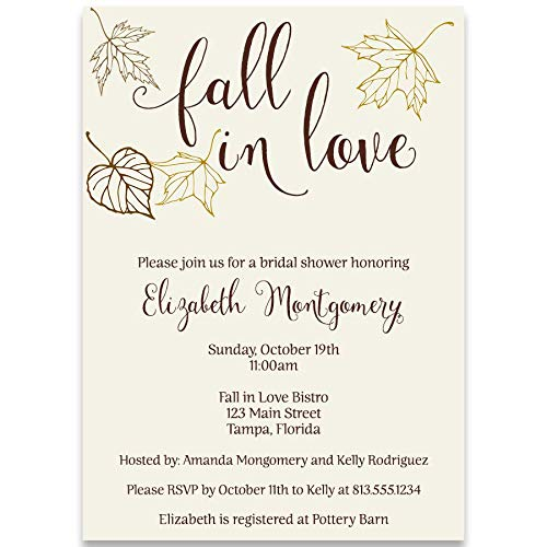 Maple Invitations Leaf Wedding (Autumn Bridal Shower Invitations, Fall, Fall in Love, Leaves, Wedding, Falling, Maple, Rustic, Brown, Gold, Ivory, Personalized, Custom, 10 Printed Invites with Envelopes, Fall into Autumn)