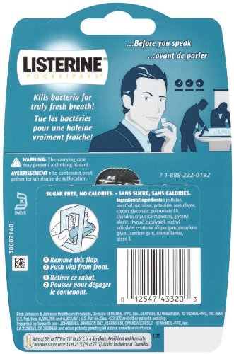 Listerine Cool Mint Pocketpaks Breath Strips Kills Bad Breath Germs, 24-Strip Pack, 3 Count (Pack Of 6) by Listerine (Image #2)