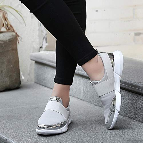 173165d9b46ef FORUU Women Mesh Casual Loafers Breathable Flat Shoes Soft Running Shoes  Gym Shoes GY Grey