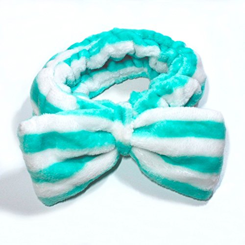 Flying Beauty Super Cute Elastic Hairband Bowknot Cosmetics Towel Headband for Washing Face and Makeup Soft Fluffy Colorful (Green and White Stripes) ()