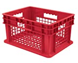 Akro-Mils 37208 16-Inch by 12-Inch by 8-Inch Straight Wall Container Plastic Tote with Mesh Sides and Mesh Base, Case of 12, Red