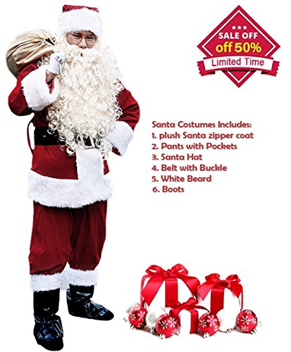 Santa Suit Men's Adult Christmas Santa Suit Costumes Holiday Cosplay Cute Costumes Outfits Vintage Plush 6 pieces Complete Santa Claus Christmas Suit Costumes, (Burgundy), One Size (Santa Suits)