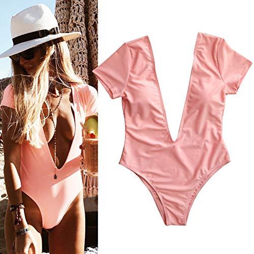(GLOGLOW Women Swimsuit,V Neck One-Piece Bathing Suit Women Short Sleeve Solid Color Bikini Swimsuit(M-Pink))