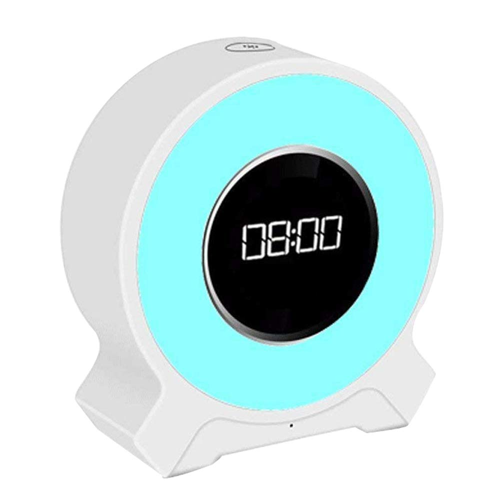 Amouhom Alarm Clock Radio, Wake up Color Changing Lighting, Portable Bluetooth 4.2 Hands Free Speaker with USB Charging, LED Touch Control Clock for Women, Men, Kids.(White) S-F9