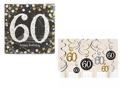Set of 16 Sparkling Celebration 60th Beverage Napkins and Sparkling Celebration 60th Hanging Swirl Decorations bundled by Maven Gifts
