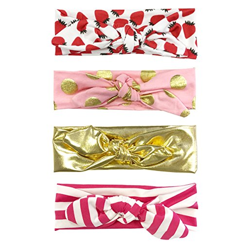 ALLYDREW Girls Bow Headband Rabbit Ear Headwraps (set of 4), Pink & - Stripes Headwrap