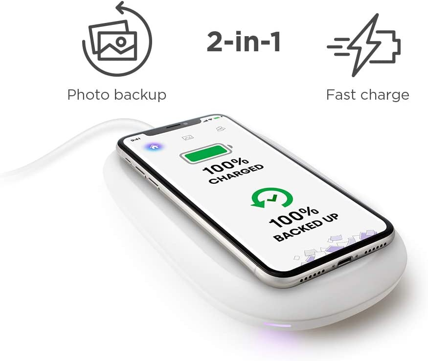 SanDisk iXpand Wireless Charger 128 GB, 10 W Fast Wireless Charger with Photo Backup for Qi Compatible Phones (iPhone XS MAXXRXSX88 Plus, Galaxy