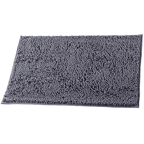 LuxUrux Bathroom Rug Mat –Extra-Soft Plush Bath Shower Bathroom Rug,1'' Chenille Microfiber Material, TPR Surface, Super Absorbent. Machine Wash & Dry (20'' x 30'', Charcoal Gray)