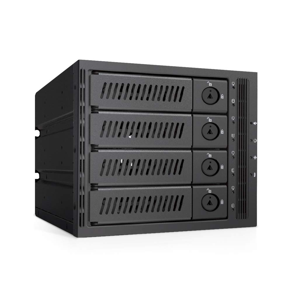 "Mediasonic 4 x 3.5"" and 2.5"" SATA/SAS Hard Drive or SSD to 3 x 5.25-inch Drive Bay Mobile Rack Backplane – Hot-Swap/Removable Tray Design/Metal Construction ..."