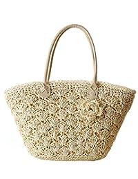 ILISHOP Hot Sale Women's Paper String Crochet Straw Woven Bag Shoulder Tote Beach Bag