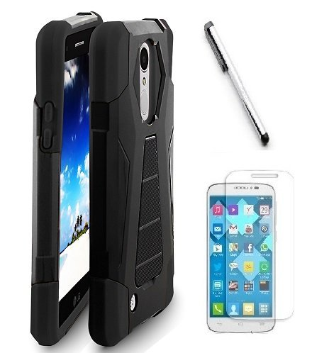 LG Fortune M153 ( Cricket ) case, LG Phoenix 3 M150 ( AT&T ) Case, Luckiefind Premium Hybrid Dual Layer Case with Stand, Stylus Pen, Screen Protector Accessory. (Stand Black)