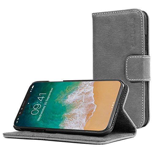 Snugg iPhone Xs Max Wallet Case – Leather Card Case Wallet with Handy Stand Feature – Legacy Series Flip Phone Case Cover in Slate Grey
