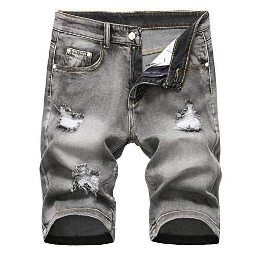 Amoystyle Men's Ripped Jean Shorts Stretch Gray US 34/ Asian 36