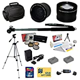 47th Street Photo Best Value Pro Shooter Accessory Kit for Canon Powershot G15, G16, G1 X Digital Camera Includes: Opteka 0.35x Wide Angle Lens + 2.2x Extreme High Definition AF Telephoto Lens + Professional 5 Piece Filter Kit (UV, CPL, FL, ND4 and 10x Macro Lens) + 2 Extended Replacement NB-10L Battery + AC/DC Travel Charger + Self Portrait Monopod + 54″ Compact Professional Photo / Video Tripod + Mini tripod + 32GB Transcend High Speed Error Free SDHC Memory Card + USB 2.0 Card Reader + Deluxe For Sale