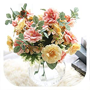 Memoirs- Artificial Flower Oil Painting Tea Rose Wedding Decoration Flowers Fake Flowers for Home Mariage Party Garden Hotel DIY 35