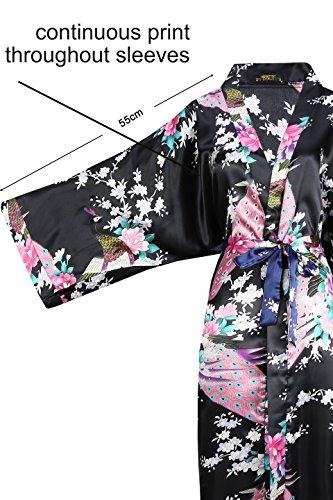 ArtiDeco Vestido Kimono Pijama de Seda Novia Kimono de Seda Ropa de dormir de Satén Estampado Pavo Real Negro