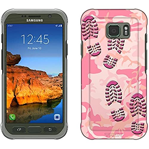Samsung Galaxy S7 Active Case, Snap On Cover by Trek Footprints on Pink Camouflage Slim Case Sales