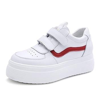 Zapatillas De Velcro De Moda para Mujer Plataforma Elegante Zapatos De Corte Bajo Transpirable Zapatos De Skate Ocasionales (Color : Blanco, Tamaño : 36): ...