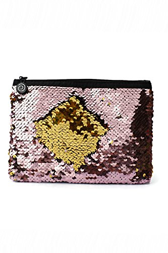 Little Monkey Magic Sequins Mermaid Large Pouch, Makeup Bag, Pencil Bag - Soft Pink & Gold]()