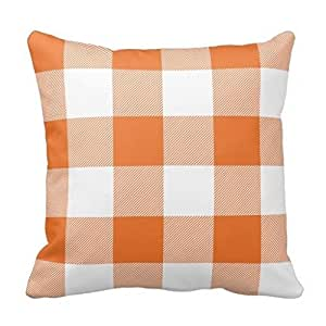 Vincent Vivi Modern And Simple Pillow Cover Rustic Orange And White Buffalo Check Plaid Pillow Case