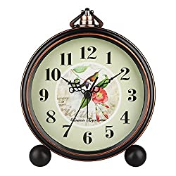 HENSE 5 Classic Retro Antique Design European Style Decorative Mantel Clock Mute Silent Quiet Quartz Movement Metal Frame Desk Table Alarm clock HA65 (magpie)