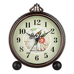 Hense 5 Classic Retro Shelf Clock Antique Design European Style Decorative Mantel Clock Mute Silent Quiet Quartz Movement Metal Frame Desk Table Alarm Clock For Bedroom Living Room HA65#magpie