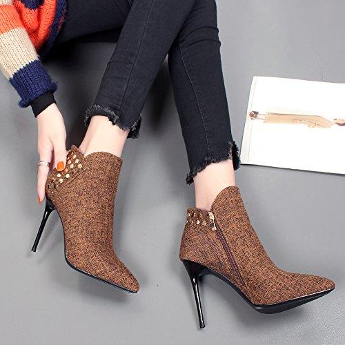 KHSKX-Stiefel Mit Einem Feinen Weiblichen Neue Winterschuhe Elegante Temperament Hochhackige Schuhe Sagte Rivet Alle Mit Nackten Stiefel brown