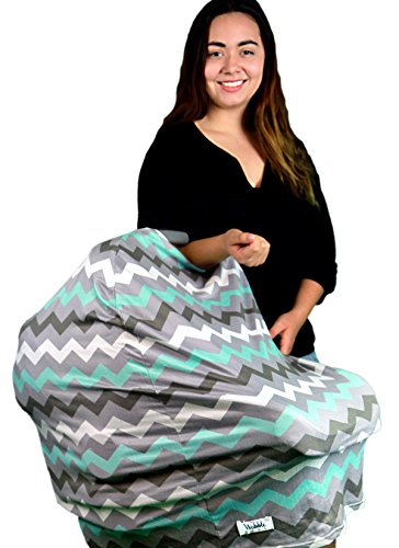 Wobble Baby Nursing Cover and Car seat canopy, for breastfeeding and baby protection, Hypoallergenic and with UV protection, (Grey Paradise Blue) by Wobble Baby (Image #1)