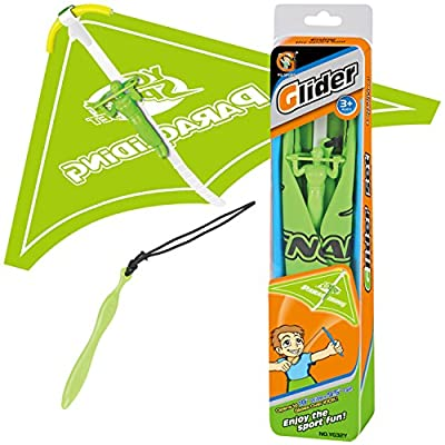 Thin Air Glider Airplane Tangle-Free Paraglider with Launcher, Set of 4: Toys & Games