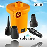 Soleaire SA-102 Electric Air Pump Powerful Handheld 12V DC Air Pump Inflator Deflator Pump Tube Pump, Raft Pump. Mattress Pump Best Portable Electric Air Pump To Keep In Car For All Inflatables ...