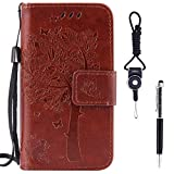 """Sony Xperia XA Case, SsHhUu Premium PU Leather Folio Wallet Magnetic Stand Card Slot Flip Protective Slim Cover Case + Stylus Pen + Lanyard for Sony Xperia XA F3113 (5.0"""") Coffee"""