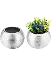 7-Inch Round Modern Metallic Ceramic Plant Flower Planter Pot, Decorative Bowl Vase