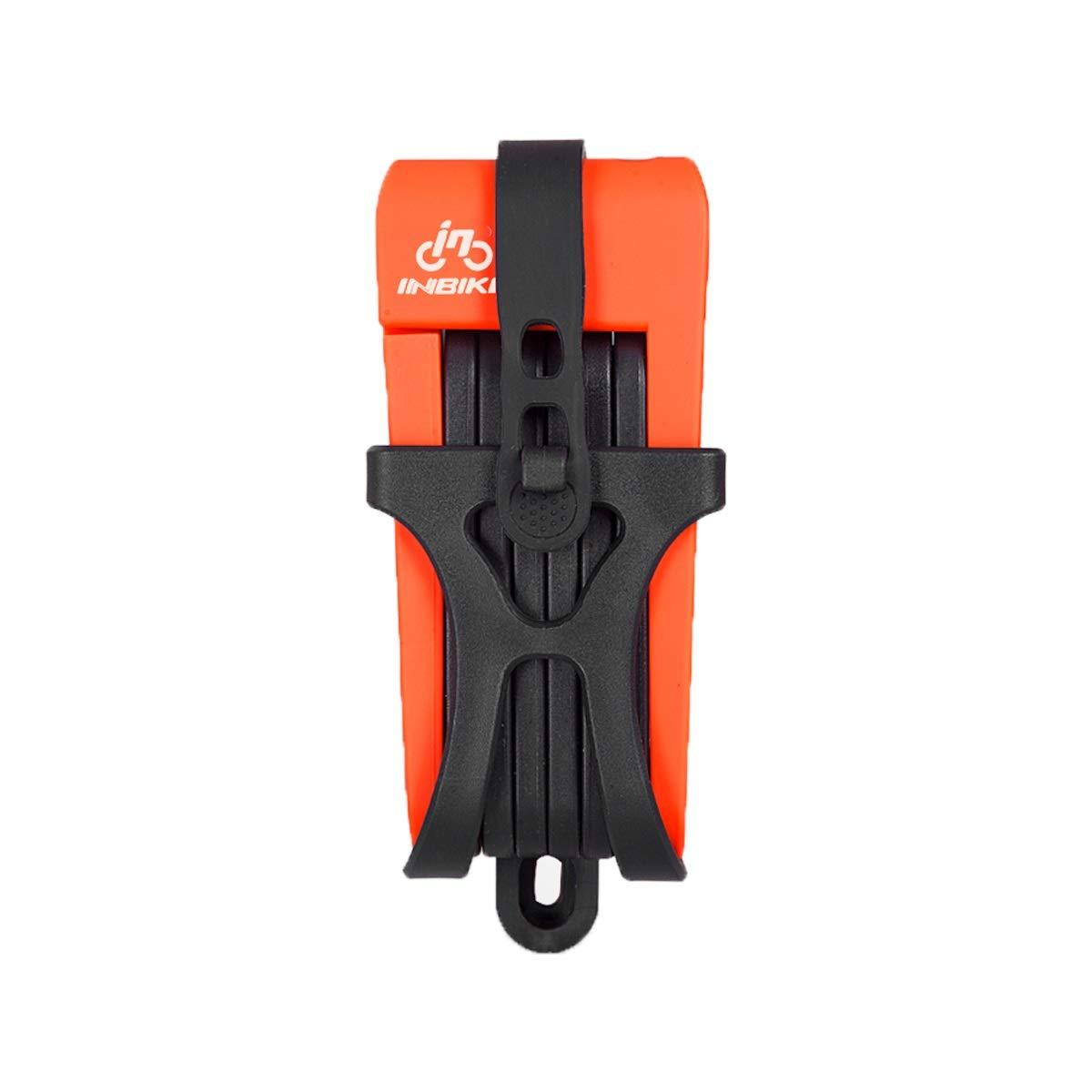 ZHONGYUE Mountain Bike Bicycle Joint Folding Anti-Theft Lock, Bicycle Lock, Electric Bicycle Equipment Accessories, Black, Blue, Orange (Color : Orange)