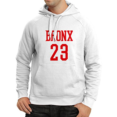 (Hoodie Bronx 23 - Street Style Fashion (XX-Large White Red))