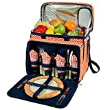 Picnic at Ascot Equipped Insulated Picnic Cooler with Service for 4 - Orange/Navy