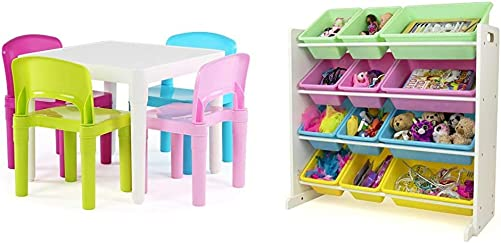 Humble Crew White Table Pastel Chairs Kids Plastic 4 Set White Pastel Kids Toy Storage Organizer