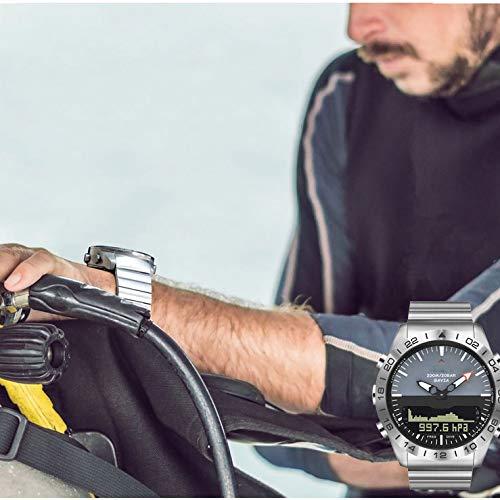 BAIYI digital dykning för män klocka för män klocka allt stål vattentät 100 m höjdmätare