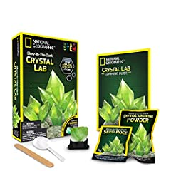 Grow amazing glowing crystals in your own home!national Geographic's glow-in-the-dark crystal growing kit brings you a fun and fascinating science experiment. With a learning guide packed full of interesting crystal facts and a real fluorite ...
