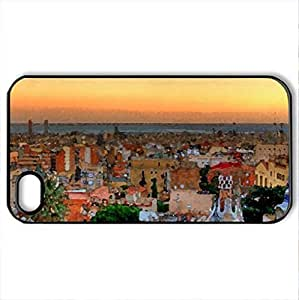 Barcelona (Spain) - Case Cover for iPhone 4/4s and 4s (Watercolor style, Black)