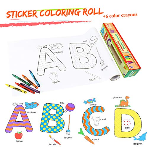 ARTISTORE Coloring Roll, 15Ft/4.75m Sticker Coloring Roll with 6pcs Crayons, Self-Stick Continuous Coloring Paper, Great for Family Kids Group Coloring Funny Wall Poster for Age 3+ (Family/Alphabet)