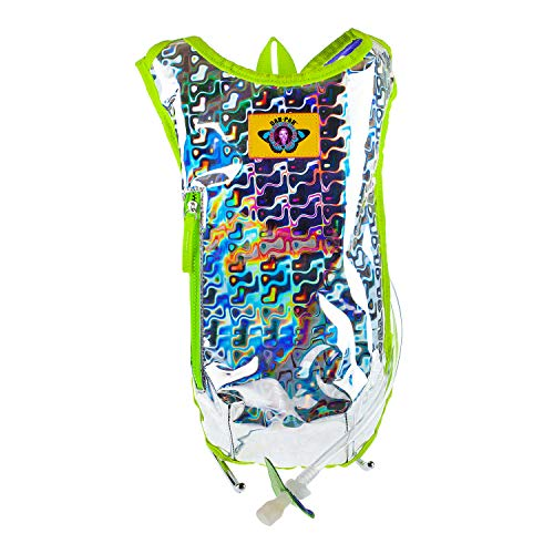 Dan-Pak Hydration Pack 2l - Retro Raver Silver/Green Holographic Trippy Rave backpack