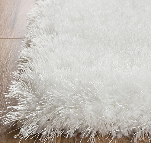 Home Way 5.3-Feet-by-7.3-Inch Thick Plush Shag Area Rug - Bright White (Yarn Polyester Rug)